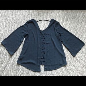 NEW Pink Rose Vintage Navy Blue Blouse Small S